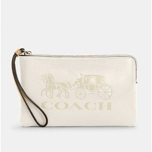 Coach Large Corner Zip Wristlet Horse And Carriage